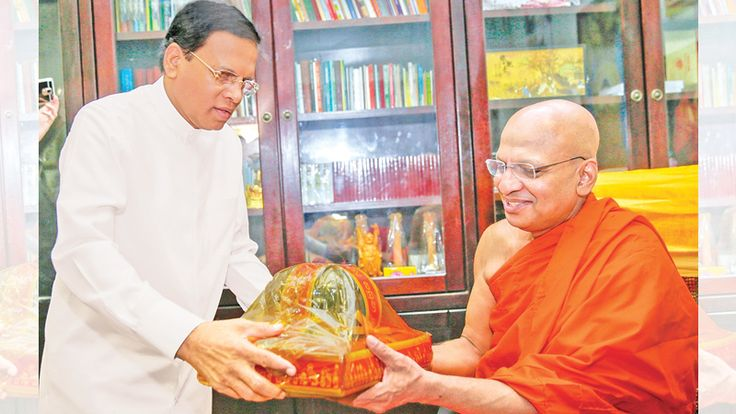 President Maithripala Sirisena with Brickfields Theravada Buddhist Temple Chief Incumbent Ven. Kirinde Sri Dhammarathana Thera
