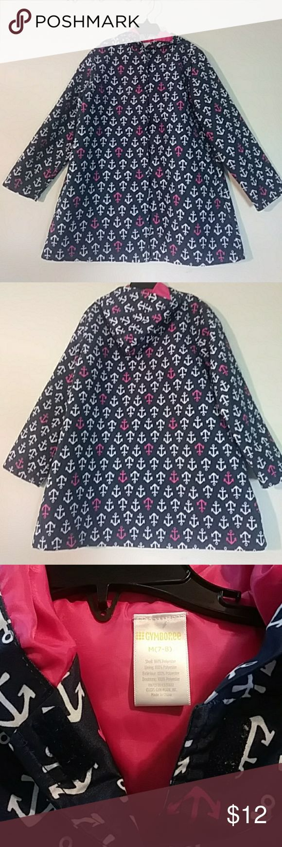 Cute Raincoat (girls) Navy blue raincoat with pink and white anchors. Has a hoodie and side pockets. It has no buttons but it has velcro. Gymboree Jackets & Coats Raincoats