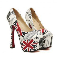 $15.93 Stylish Women's Pumps With Flag Print and Chunky Heel Design