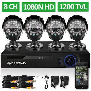 DEFEWAY 8 Channel 1080N DVR 1200TVL 720P HD Outdoor Security Camera System 8CH HDMI DVR CCTV Surveillance Kit AHD Camera Set (1824001146)  SEE MORE  #SuperDeals