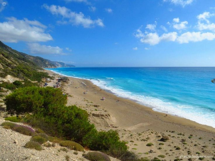 Strong waves at Gialos - the longest beach of Lefkada