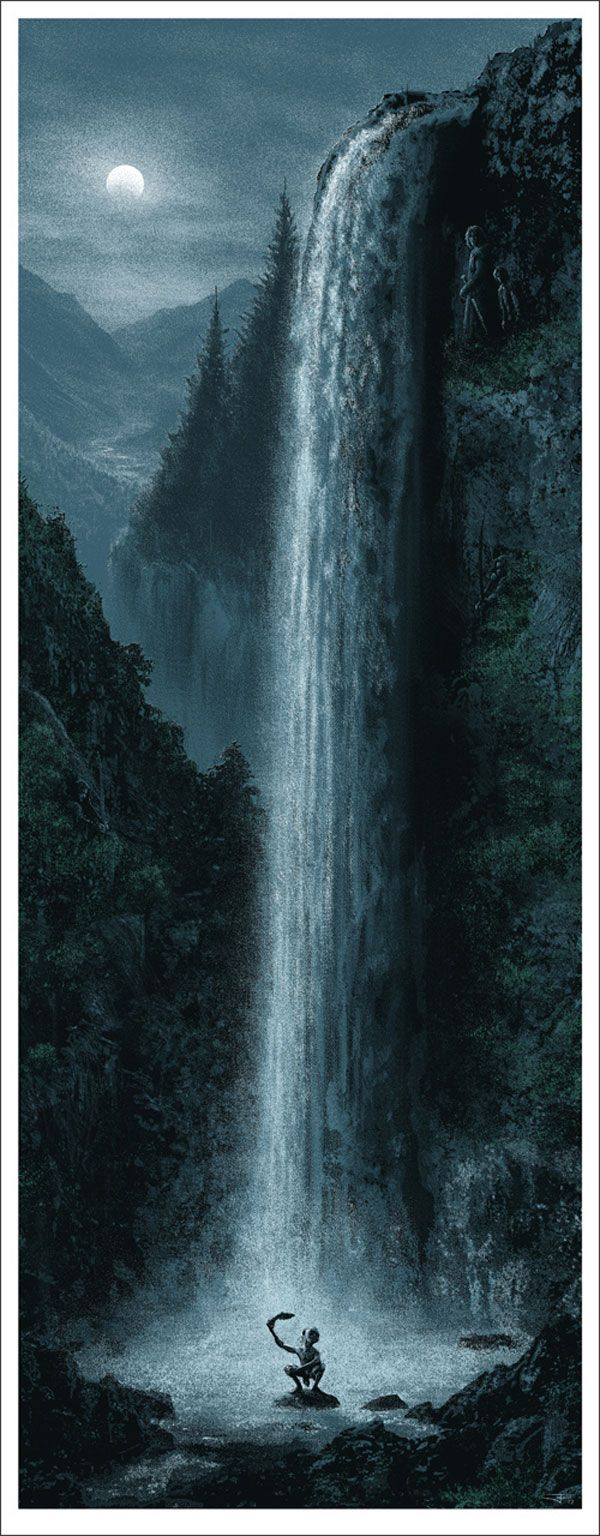 Lord of the Rings: The Two Towers Mondo Poster by JC Richard - Gollum in the pool fishing