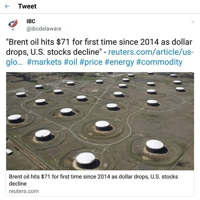 Strong Oil...#oil #price #commodity #market #today #news #energy #world #news #trend #export #opec #dollar #analysis #2014 #2018 credit @reuters