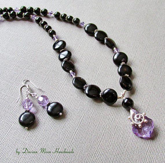 Lavender Shadows jewelry set onyx jewelry gemstone jewelry