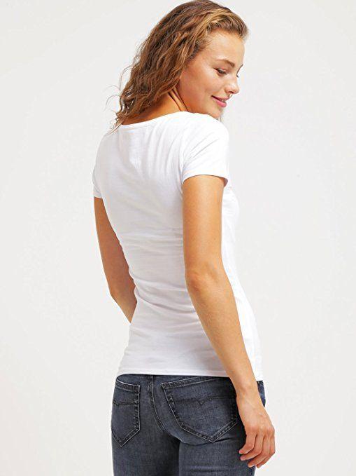 Tshirt Damen Kurzarm - Weiß - Rundhals T-Shirt Top ★ Style Room ★ Frauen-Top für Freizeit Fitness Sport, Größe L: Amazon.de: Bekleidung