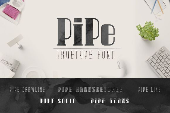 Pipe TrueType Font by alphadesign on @creativemarket