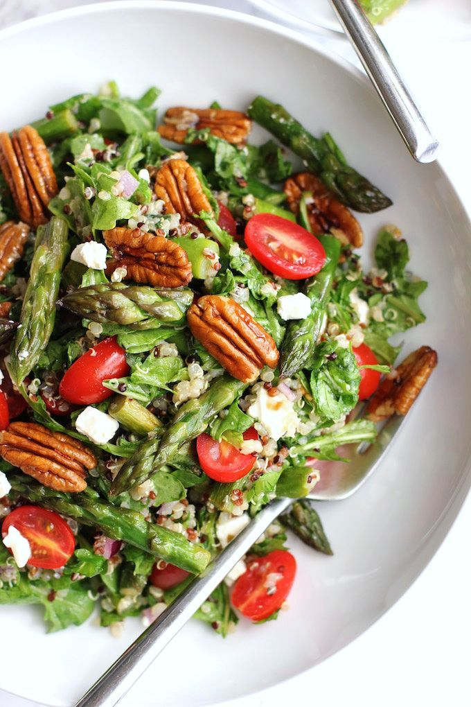 Quinoa Salad With Asparagus, Cherry Tomatoes And Pecans | Green Valley Kitchen