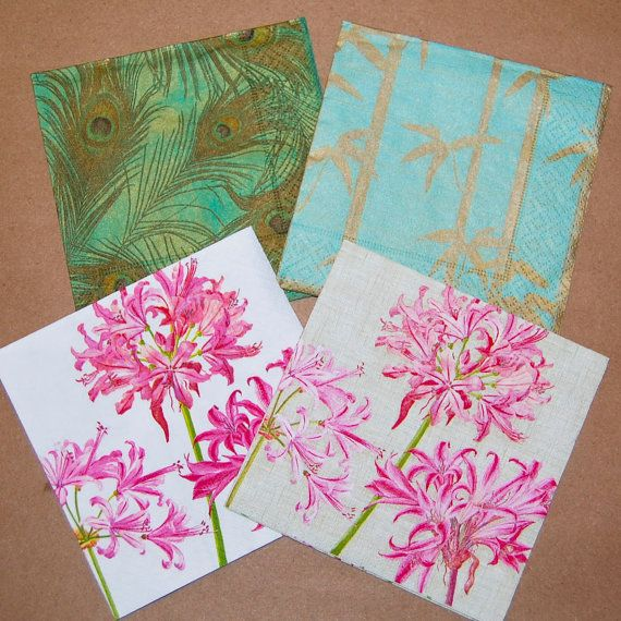 craft ideas with paper napkins servilletas decoupage plumas pavo real y flores de 6335