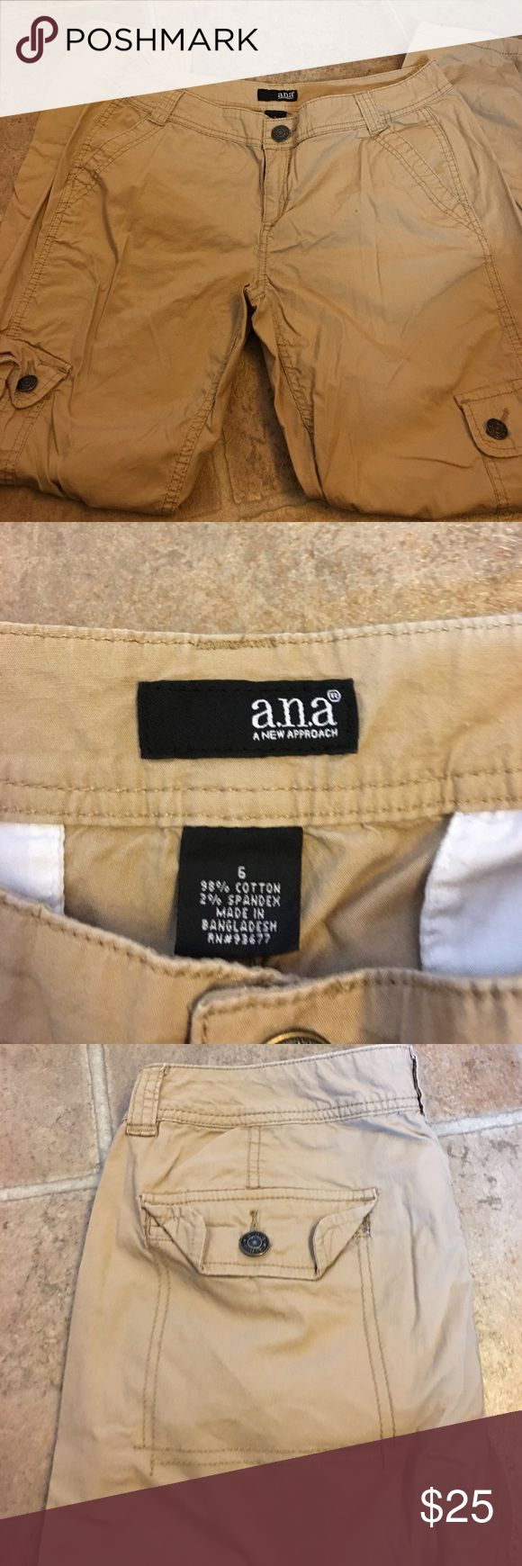 Tan ladies cargo thin pants. Like new! Tan ladies cargo pants. Like new! Only wore once. Size 6 women's.  Has side pockets on legs and front and back pockets. a.n.a Pants Straight Leg