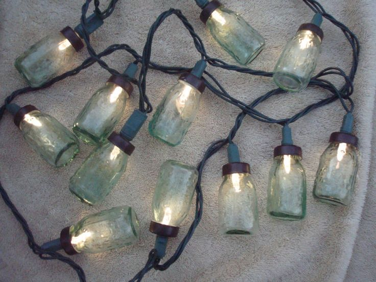 Canning Jar String Lights : Details about Miniature Mason s Patent Canning Fruit Jar Mini Light Globes ORNAMENTS Set of 12 ...