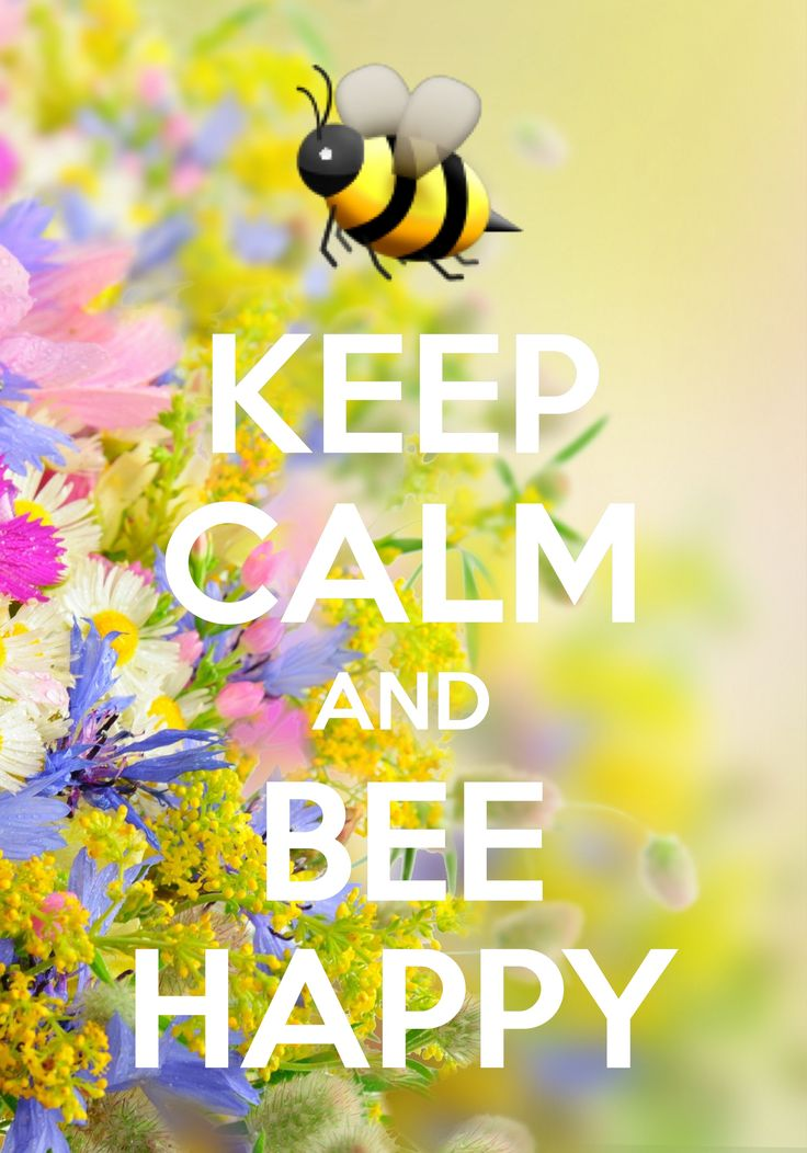 keep calm and bee happy / created with Keep Calm and Carry On for iOS #keepcalm #bumblebee #emoji