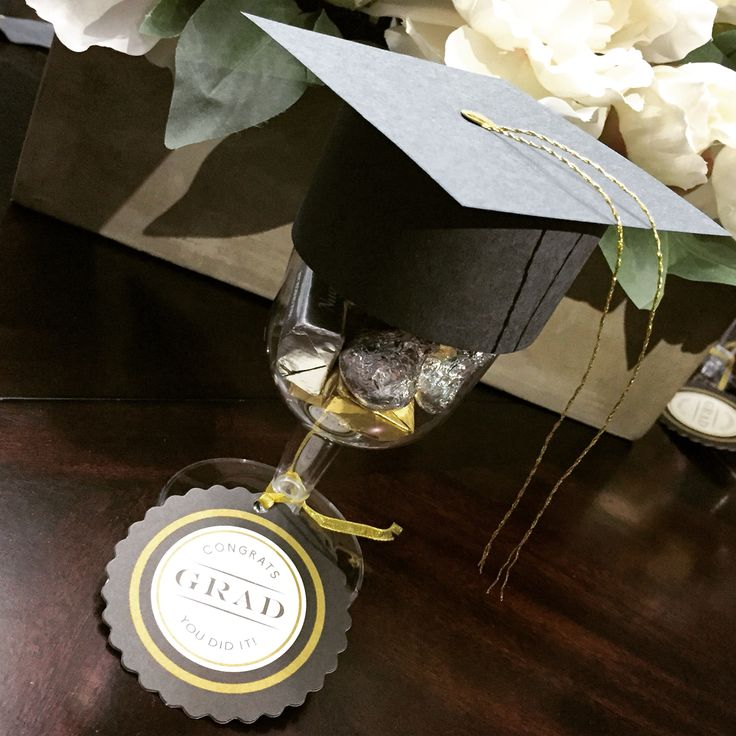 Graduation party favor! Wine glass with cap on top! Also filled with chocolate :)