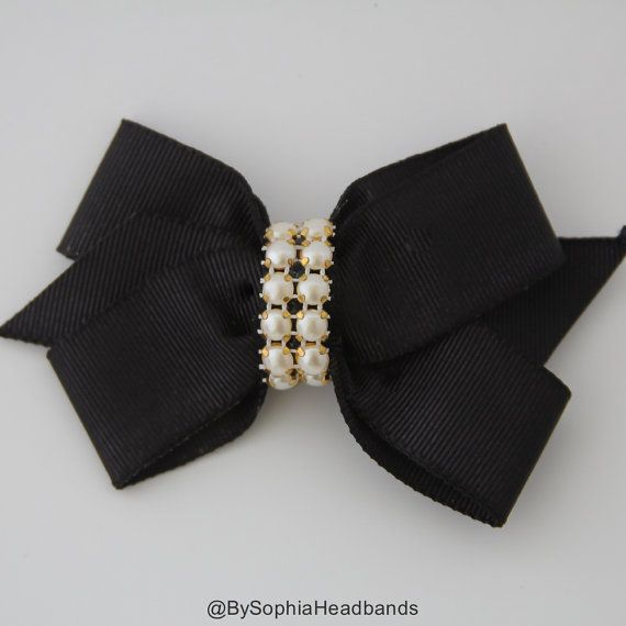 Black Hair Clip Black Bow Hair Clip Bow Hair Clip by BySophiaBaby