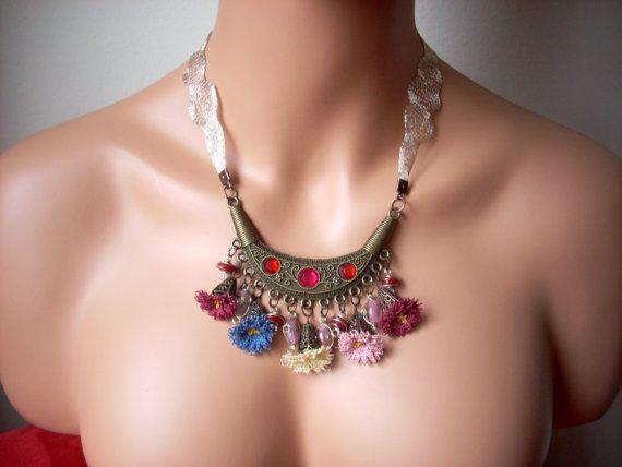 wedding needlelace jewelry needle lace by TheAnatolianstyle, $45.00