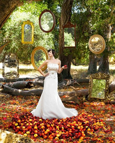 Snow White is a good theme for an outdoor wedding. Love the mirrors. You could borrow some from family and friends.
