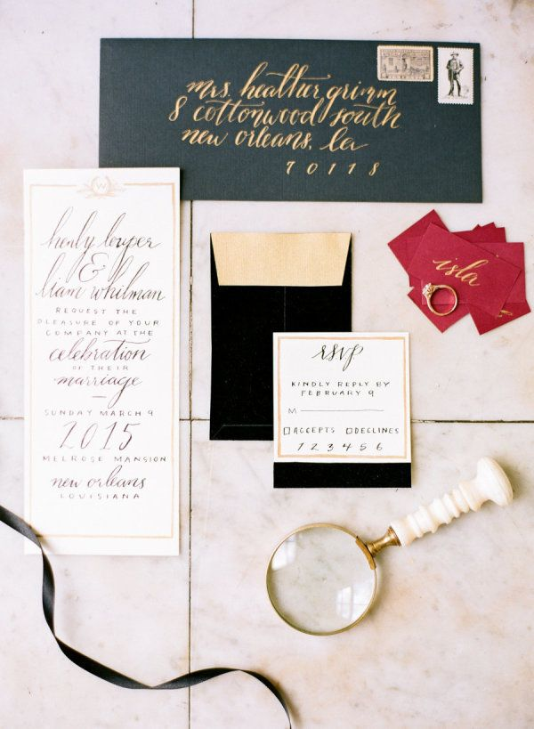 how to address wedding invites%0A This Modern Melrose Mansion Wedding Inspiration from Sarah Beth Photography  features a gold striped cake from Melissa u    s Fine Pastries  lucite chairs  and top