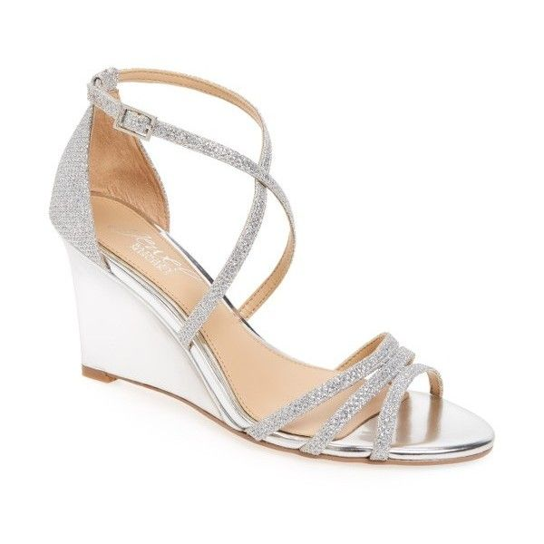 Women's Jewel Badgley Mischka Hunt Glittery Wedge Sandal ($53) ❤ liked on Polyvore featuring shoes, sandals, silver glitter fabric, strap sandals, evening sandals, silver wedge sandals, strappy sandals and glitter wedge sandals