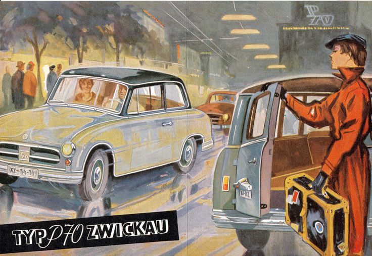 1956 AWZ P70 Zwickau. This is an East German car produced by VEB Automobilwerke Zwickau.  This car is the predecessor to the famous Trabant.