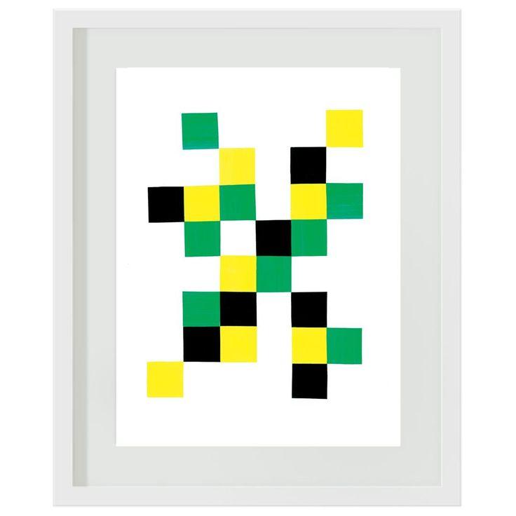 Green and Yellow Blocks: #boys #green #yellow #bedroom #decor #wallart #artprints #minecraft #blocks #squares