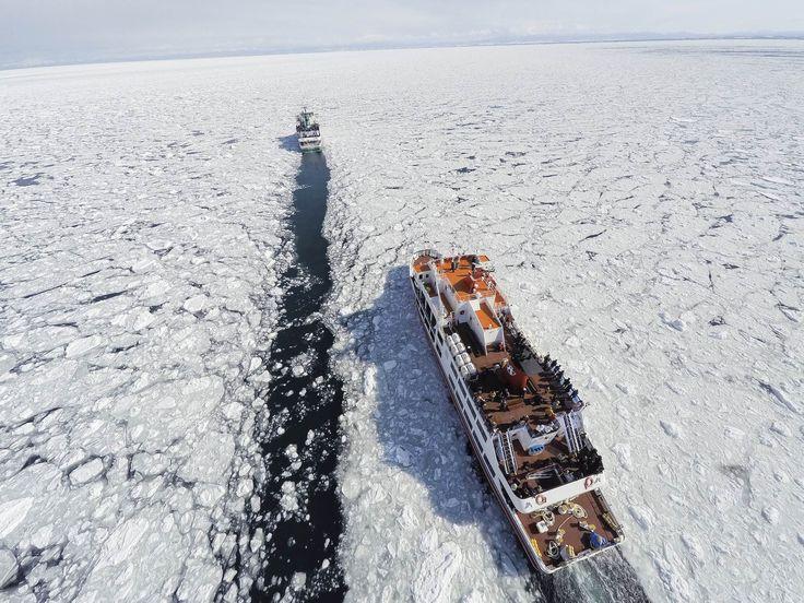 Ice breaker ship in Hokkaido