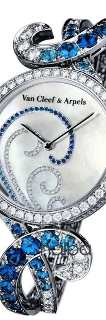 Van Cleef & Arpels Watch encrusted with diamonds and sapphires