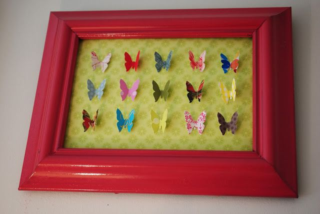House by Holly: A Sophisticated Girls Room | One Adventure at a Time DIY butterfly speciman art.