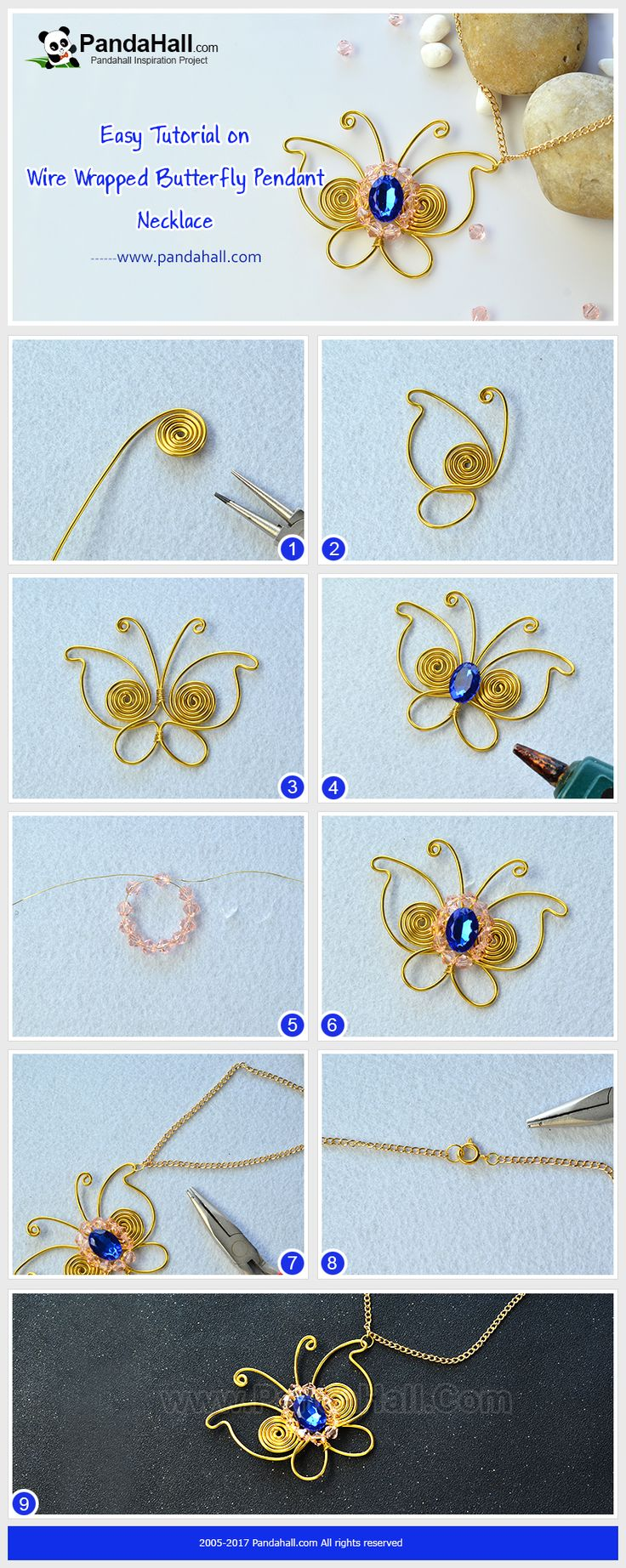 How to Make Wire Wrapped Butterfly Pendant Necklace Wrap the wires onto a butterfly shape, decorate it with a rhinestone cabochon and some glass beads, and then connect it to a necklace chain, and you will get a delicate pendant necklace!