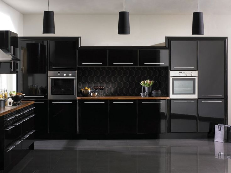 11 beautiful black kitchen design - Modern Kitchen Units Designs