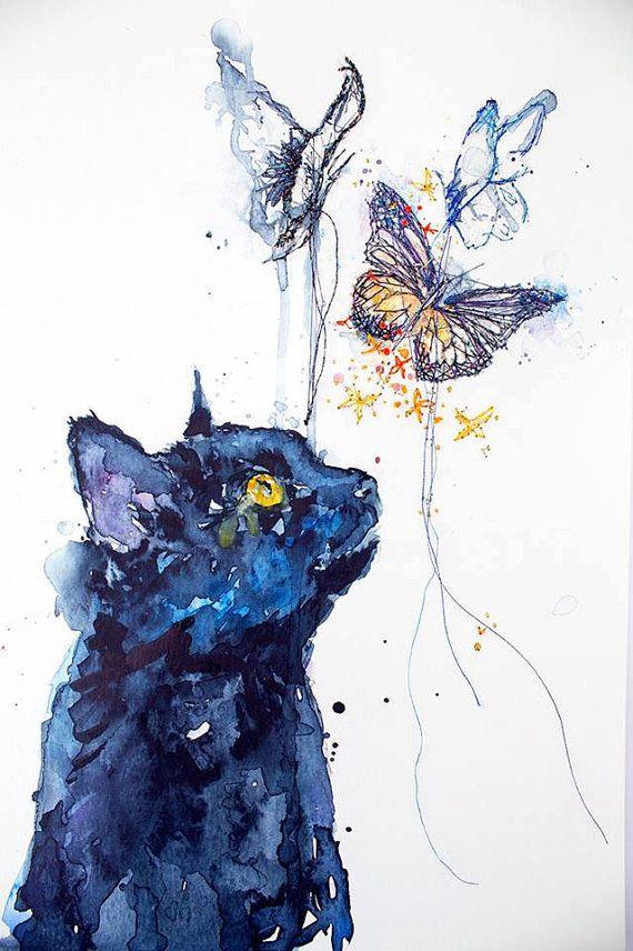 Black Cat Painting. Watercolour Painting. Black Cat.