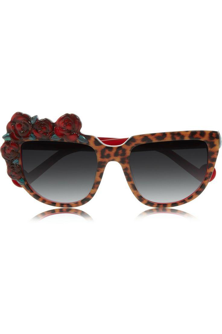 Anna-Karin Karlsson   Rose Rouge Sonnenbrille aus Azetat mit D-Gestell und Leoparden-Print   NET-A-PORTER.COM