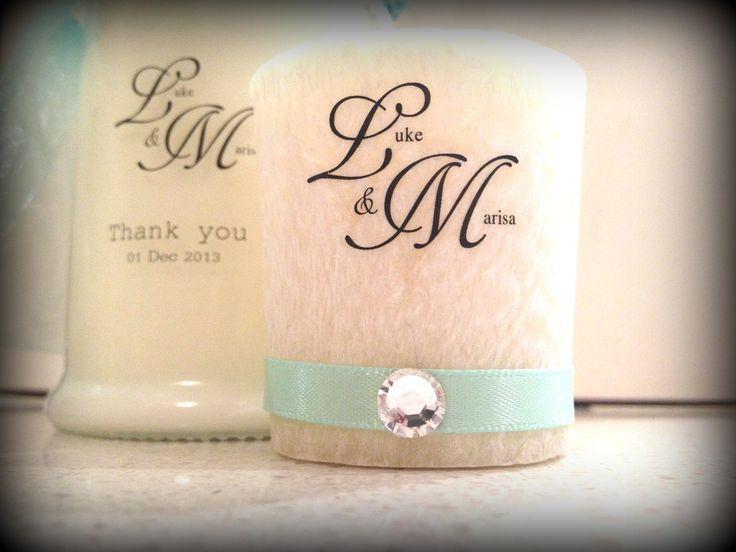 Bonbonniere wedding candle. Custom made sydney.