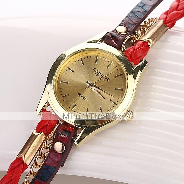 les montres de montre grain de léopard luxe tissé marque de quartz des femmes (couleurs assorties) c&D-120 de 2015 à €4.74