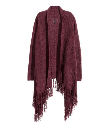 Draped cardigan in a soft textured knit with cable-knit details, long sleeves, and fringe at hem. Plum purple. | H&M Divided