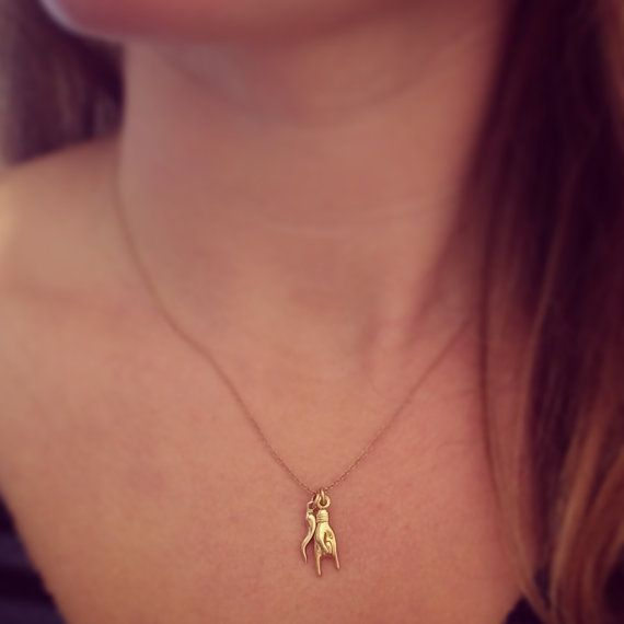 14k Gold Mano Cornuto Cornicello Italian by jewelsforgypsies