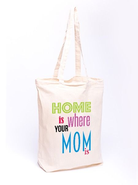 Torba bawełniana - Home is where your mom is w Allbag-Allprints na DaWanda.com