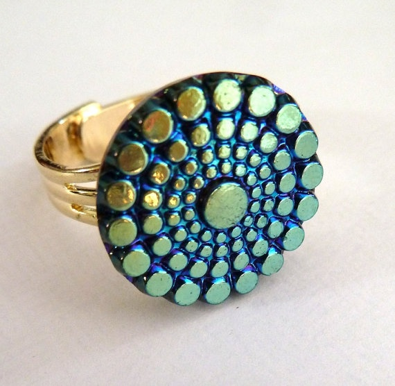 Blue Iridescent  vintage cabochon ring by morethandivine on Etsy, £15.00