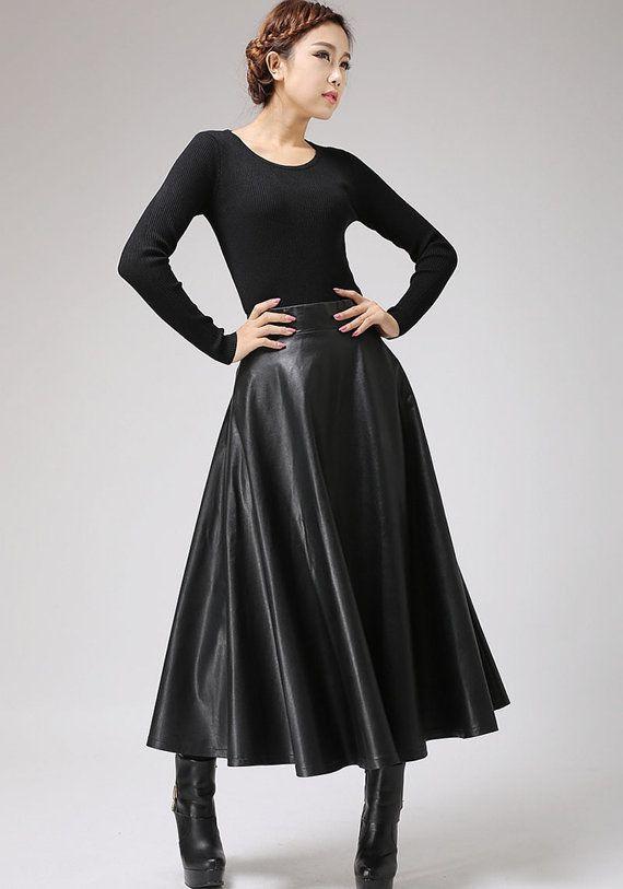 Siyah şapka deri etek - Klasik tarzı maxi etek - kadın PU vegan parmaklı etek - daire eteği - tasarımcı kadın eteği - artı boyutu (719)