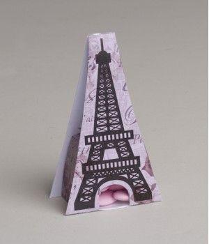 Ballotin à dragées Tour Eiffel avec transparent