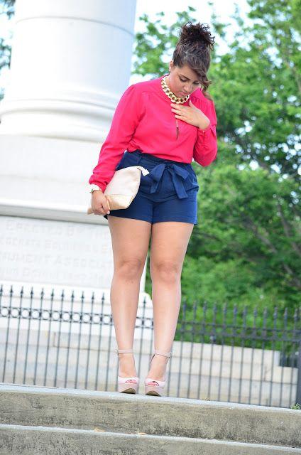 Pink Blouse, Cobalt Blue Bow Shorts, & Nude Heels