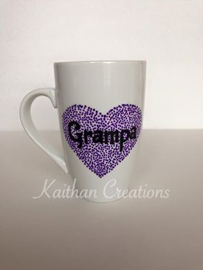 12oz Grampa purple heart mug by Kaithan Creations.  Can be personalized. Visit my Facebook page to place your order. https://www.facebook.com/kaithancreations/photos/a.218304591702629.1073741829.216663808533374/490977211102031/?type=3