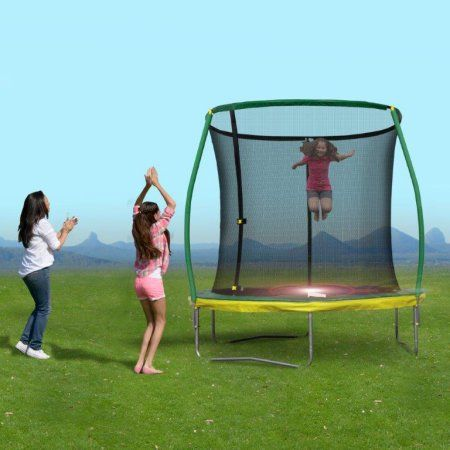 8 Ft Steelflex Trampoline with pro enclosure and mini flash light zone, Green