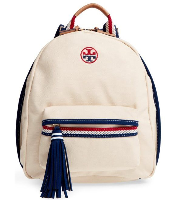 preppy canvas backpack by Tory Burch. Ropy nautical trim and straps add to the fun, preppy look of a sturdy cotton-canvas backpack detailed with two-tone l...