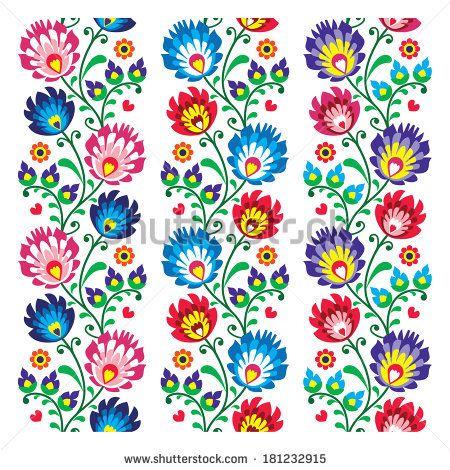 Seamless traditional folk polish pattern - seamless embroidery stripes, wzory lowickie by RedKoala #print #poland #łowicz
