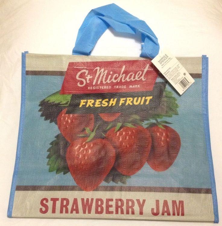 Strawberry Jam Eco Tote Bag Marks & Spencer UK NWT Retro PVC Blue Shopper #stmichael #marksandspencer #blighty #britain