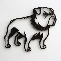 """Bulldog with collar metal wall art 22"""" wide - wall hanging silhouette dog - black with rust accents"""