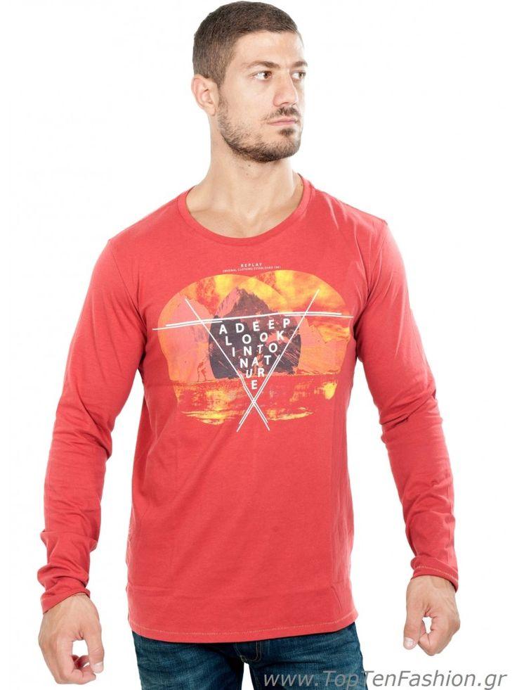 REPLAY Ανδρική μακρυμάνικη μπλούζα λαιμόκοψη, slim fit, κεραμιδί χρώμα. 44,00 €