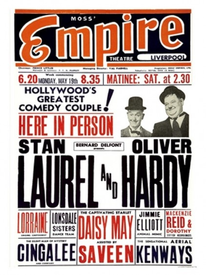 Vintage Theatre Print - Laurel and Hardy at Liverpools Empire Theatre on May 19th 1947