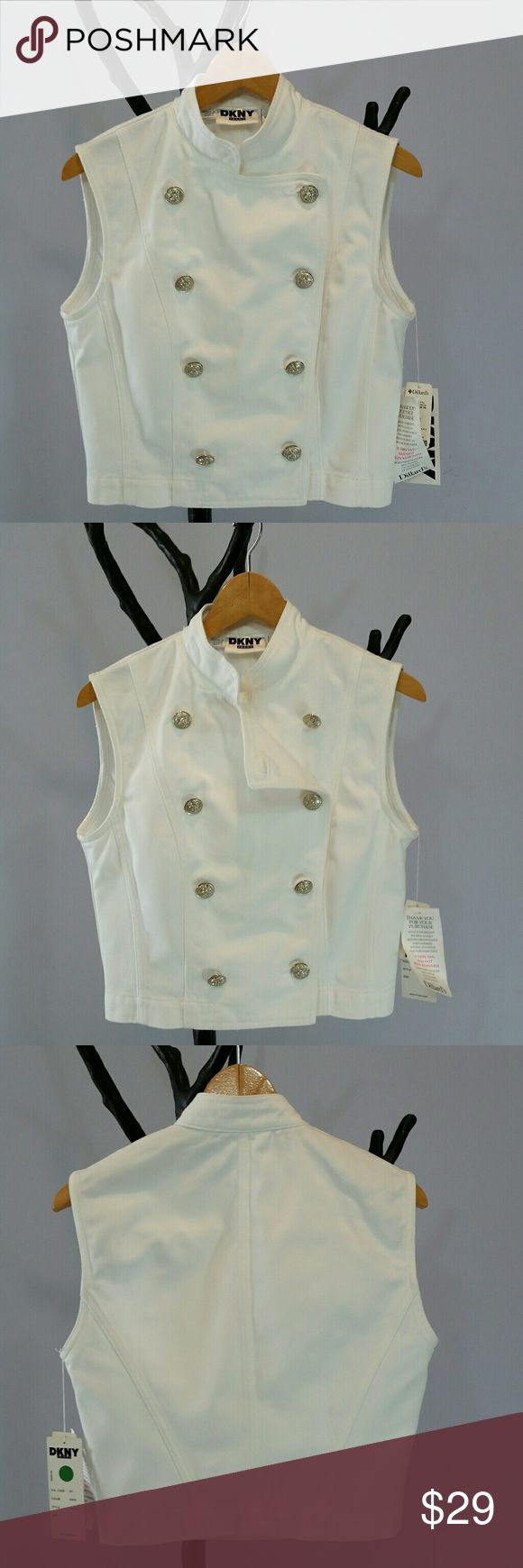 "DKNY White Denim Double-Breasted Vest Sz 8 NWT This is a DKNY White Cotton Denim Double-Breasted ""Captains"" Vest with 8 Great Silver Buttons marching down the front of it. Has a hint of a Steampunk look. A fun piece to layer over anything or wear it on its own! Happy to provide measurements/info/pics as needed.  Sz 8, NWT from a smoke free home. DKNY Jackets & Coats Vests"