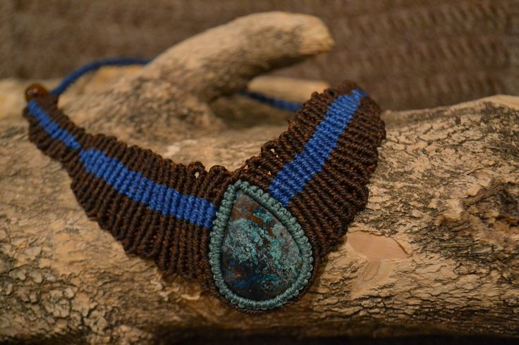 necklace stone macrame collier vaillant macrame azurite