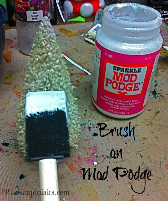 Use a foam brush and Mod Podge to give your tree a nice thick coat.  You don't have to use Mod Podge sparkle.  Regular Mod Podge was one of ...